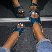 2021 Nouveau Tino Kino Sumle Flat Boucle Sandales Femmes Slingbacks Cross Ligue Couture Casual Femme Chaussures Q89C GHJ0
