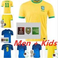 Homme Kids Kit 2021 Brasils Soccer Jerseys Camiseta de futbol Paquetta Neres Coutinho Richarlison Football Shirt Firmino Jesus Marcelo 20 21 Maillot de pied