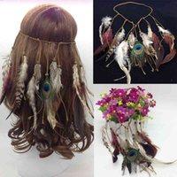 Populaire haarband Indiase veer schilderachtige vlek hoofdtooi etnische jurk