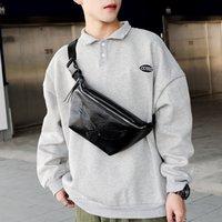 Pockets 2021 Bolsa de pecho de hombres y mujeres coreanos Patrón personalizado Cintura PU Cuero Pequeño Sección Horizontal Marca cuadrada