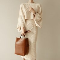 2019 Autumn Winter Women Knitted 2 Piece Set Batwing Sleeve Loose Tops+Slim Bodycon Skirt Female Sweater Suits high quality