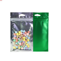 Multi Sizes 100pcs lot Plastic Clear Front Package Bag Matte Green Aluminum Foil Mylar Flat Zip Lock W  Hang Holehigh qty