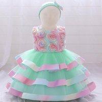Kızın Elbiseleri Bebek Kız Giysileri 2022 Noel Elbise Doğan Bebek Için İlk Doğum Günü Partisi Prenses Çiçek Çocuklar Vestidos 4Y