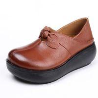 Dress Shoes Women Platform 2021 Spring Genuine Leather Bow Ladies Singles Retro Casual Round Toe Wedge Heel Pumps