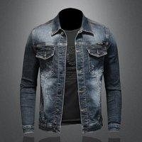 Men's Jackets Autumn Slim Stretch Men Denim Jacket Trendy Youth Blue Black Plus Size Turn-down Collar Jeans Coats Streetwear Windproof
