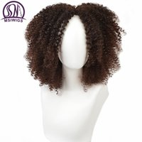 MsiWigs 갈색 합성 kinly 여성을위한 곱슬 가발 옹 브 레 금발 핑크 레드 짧은 아프리카 가발 아프리카 계 미국인 블랙 중간 부분 머리카락