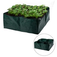 Giardino Grow Bag Bed Giardino Giardino Piantatore Tessuto Letto con 4 Griglie divise Durevole Piante piantatura quadrata Durevole Grow Pot Plant Flower Verdure