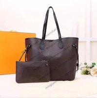 النساء حقائب اليد محفظة الأزياء 2 قطعة / المجموعة حقائب اليد جودة عالية جلدية سيدة حقيبة الكتف محفظة مع أكياس الغبار