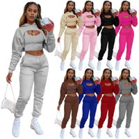 Designers Women tracksuits cotton Clothes 2021 fashion Plush drawstring hoodie with vest and jogging pants Women sports sport suits