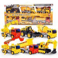 Inertia engineering children's toy car, return force vehicle, bulldozer, excavator, fire truck set