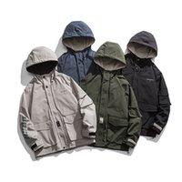 Erkek Kapüşonlu Ceket Çok Cep Kargo Ceket Kişilik Eğilim Gençlik Ceket Bahar ve Sonbahar Yeni Stil Drop Shipping