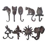 1 PZ Rustico Gancio in ghisa Dog / Cat / Gufo / Libellula / Farfalla / Luce solare / Elefante Porta a parete Tasto / Cappotto / Asciugamano Cucina Decor 210609