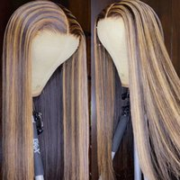 Ombre Blonde 360Lace Frontal Wig Highlight Human Hair 180% Density Brown Colored Straight 13x4 Lace Front Wigs Pre Plucked for Women