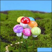 Patio, prato inglese GardenArtifilliale Colorf Mini Fungo Resina Artigianato Terrario Figurine Fairy Miniatures Party Garden Ornament Decorazioni