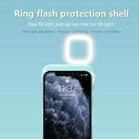 Anillo Flash Fundas para teléfono para iPhone 11 12 Pro Max XR XS Llenaje Light Selfie Beauty Ringlight Linterna Shell