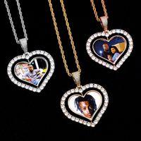 Reversible Love Heart Photo Customizable Zircon Pendant Commemorative Photo DIY 14K Gold Rhodium Plated Hip Hop Men Women Necklace