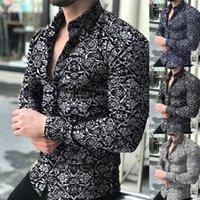 Moda Erkekler Çiçek Baskı Slim Fit Uzun Kollu Düğme Açmak Yaka Gömlek Üst Adam Erkek Yaz Casual Bluz Gömlek CA