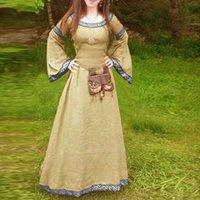 Casual Kleider Maxi Verbandkleid Frauen Vintage Mittelalterliche Stil Langarm Renaissance Gothic Cosplay Vestidos