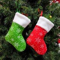 US акция вышитые снежинки рождественские чулки кулон белые красные носки детские подарочные сумки рождественские украшения