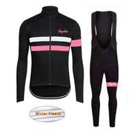 Pro Team Rapha Ciclismo Jersey Set Inverno Térmica Lã Manga Longa Camisas Bib Pants Kits Bicycle MTB Roupas Bike Maillot Ropa Ciclismo L07