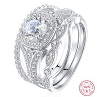 클러스터 반지 925 스털링 실버 컬러 다이아몬드 반지 세트 여성용 Whtie 순수 토파 스톤 3 세트 8 화살 웨딩 보석