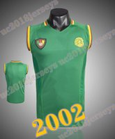 2002 Futbol Formaları Kamerun Ev Gömlek Retro Jersey Eto'o Geremi Wome Şarkı Djemba-Djemba 02 Klasik Futbol Gömlek