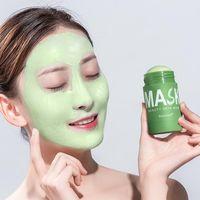 Thé vert Nettoyage Masque Solide Purifiant Stick Stick Stick Masque Huile Contrôle anti-acné Face aubergine Masque de soin de la peau