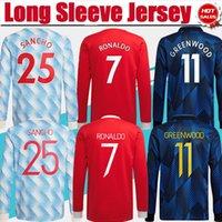 # 7 manica lunga ronaldo # 25 sancho home home rosso jersey di calcio 2021/2022 # 11 Greenwood # 18 B.fernandes 3rd blu camicia da calcio 21/22 # 10 rashford lontano uniforme da calcio
