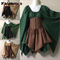 Casual Dresses Frauen Kleid Gothic Mittelalterliches Halloween Cosplay Kostüm Masquerade Outfits Lange Flare Hülse Retro Fancy Plus Größe Goth Vestido