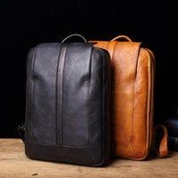 "Backpack Vegetable Tanned Genuine Leather Large Travel School BookBag Cowhide Male Leisure Bag Men Laptop 14"""