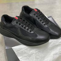Uomini America's Cup XL Leather Sneakers in pelle verniciata Brevetto Flat Trainer Nero Mesh Lace-up Scarpe Casual Scarpe Casual Outdoor Runner Trainer di alta qualità