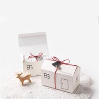Gift Wrap 100PCS House Paper Boxes White Kraft Party Favor Box Package Candy Wed Bag Set String Tag Included