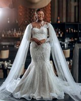 Luxurious vestido de noiva civil Plus Size African Wedding Gowns 2022 Sparkly Sequin High Neck Mermaid Bridal Dresses Arabic abito da sposa