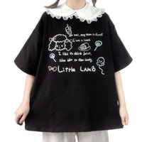 Women's T-Shirt Japanese Lolita Doll Collar School Girls Casual Clothes Summer Oversized Tshirt Women Cartoon Top Short Sleeve Fashion