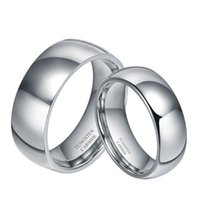 Bagues de mariage 2pcs 6mm Couples de 8mm Ensembles pour hommes et femmes Bande de fiançailles en forme de dôme en carbure de tungstène de tungstène pure