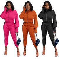 Women's Two Piece Pants 2021 Solid Color Zipper High Neck Lantern Sleeve Long Three Quarter Slim Simple Fashion Casual Two-piece Suit