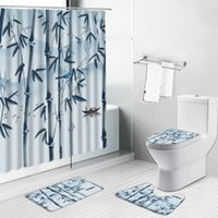 Shower Curtains Ink Painting Landscape Bamboo Non-Slip Bath Mats Green Plant Leaf Bathroom Decor Set Rug Toilet Lid Cover Carpet