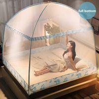 Haushalts-Mücken-Moskitonetz mit gedrucktem Anti-Moskito-Tuch Drei-türige Moskitonetze Voller Bottom-Bett-Zelt-Canopy-Netz verschlüsselt 210316