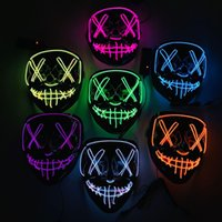 Novelty Lighting Halloween LED Glowing Light Up Mask Party Cosplay Masks The Purge Election Year Great Funny Masks Festival Glow In Dark In Stock