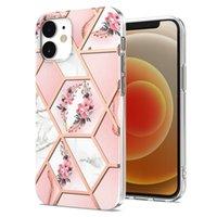 Flor mármore telefone geométrico casos para iphone 12 mini 11 pro max x xs 8 7 soft tpu caso granito pedra pedra rocha estoque quartzo ouro ouro linha coroa volta de alta qualidade
