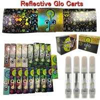 Reflective GLO Carts 0.8ml 1ml Ceramic Glass Atomizer Vape Cartridges Packaging 510 Thread empty e cig pens Disposable 2.0mm Thick Oil Holes Vaporizer 20 strains