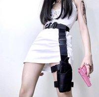 Harajuku كول المرأة حقيبة الساق والحزام قابل للتعديل الخصر حقيبة التبعي إمرأة أسود فاني حزم الأزياء دراجة نارية أكياس الساق