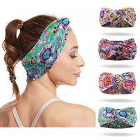 Hair Accessories Women Cotton Headband Cross Knot Elastic Bands Flower Prints Hairband Turban Yoga Run Bandage Lady