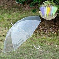 Clear Transparent Rain Umbrella PVC Dome Bubble Rain Sun Shade Wedding Party Umbrellas Long Handle Straight Stick Umbrellav T2I52864