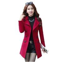 Wollmantel Frauen 2021 Neue Frühling und Herbst Koreanische Version Plus Größe Rot Schwarz Khaki Slim Temperament Elegante Top Jacke GH66