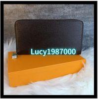 Deisigner محفظة محفظة حار بيع حاملي بطاقة سستة الرجال النساء محفظة جلدية سيدة السيدات محفظة طويلة مع صناديق البرتقال بطاقة شحن مجاني