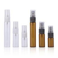 Amber Clear Стеклянные флакон духов 3ML 5 мл 10 мл покрасренного образца пробирки пустой распылитель мини-путешествия Parfum распылительные бутылки