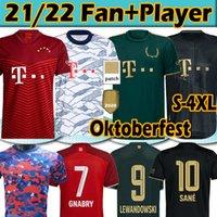 New 21 22 Bayern Munich Camisa de futebol Versão DOS fãs+jogadores 2020 2021 Sané Lewandowski Davies Muller Gnabry  Kits para Homens e crianças Camisolas de futebol