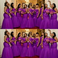 2021 African Purple Mermaid Bridesmaid Dresses One Shoulder Sweetheart Tulle Sleeveless Sashes Party Wedding Guest Gowns Maid Of Honor Dress