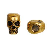 20 stücke Zinklegierung 3D Schädel Spacer Perlen Gunmetal Antike Goldfarbe Für DIY Schmuck Machen 12mm x 8mm, Bohrung: 3,8mm Ergebnisse Günstige Perlen
